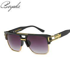 2017 Fashion High Quality Brand Designer Flat Top Sun Glasses Gold Square Male Oversized Men Sunglasses Oculos de sol