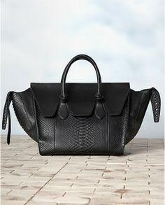 Celine Black Python Tie Tote Bag