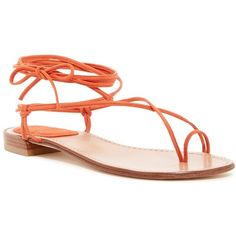 Stuart Weitzman Nieta Lace-Up Flat Sandal ($170) ❤ liked on Polyvore featuring shoes, sandals, coral, toe-loop sandals, toe ring sandals, stuart weitzman sandals, gladiator sandals and wrap around gladiator sandals