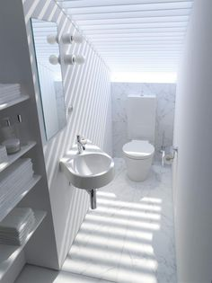 Bathroom design ideas, view our selection of luxury bathroom images. Designs for small and large bathrooms, ensuite's & wet rooms Loft Bathroom, Narrow Bathroom, Guest Bathrooms, Dream Bathrooms, Small Bathrooms, Bathroom Ideas, Duravit, Attic Renovation, Attic Remodel
