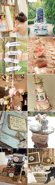 add an alice in wonderland theme to your spring or summer wedding garden party for an extra cute + whimsical wedding reception Wedding Themes, Party Themes, Wedding Decorations, Ideas Party, Wedding Ideas, Table Decorations, Birthday Decorations, Disney Decorations, Wedding Pictures