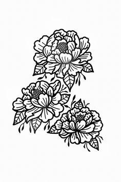 STANLEY DUKE tattoo design flowers art tattooist graphic artist peonies blackwork black simplistic linework line work nature