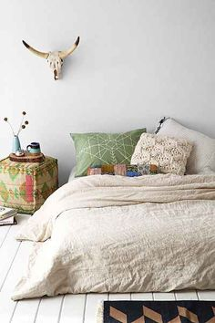 Love these muted colourswith neutrals: Linen Duvet Cover - Urban Outfitters