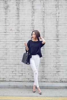white denim black batwing top