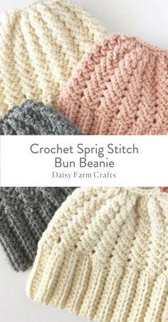 Free Pattern - Crochet Sprig Stitch Bun Beanie #CrochetPatterns