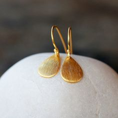 Gold Teardrop Earrings Everyday Sparkle Gold Vermeil Brushed Metal Curved Drop Simple Design Handmade Jewelry
