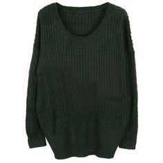 Green Round Neck Long Sleeve Loose Sweater ($31) ❤ liked on Polyvore