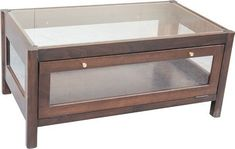 Amish Annes Coffee Table Display Case Display case within a coffee table! Enhance your decor with this contemporary style beauty. Built in choice of wood and stain. #coffeetable #livingroom #accentables