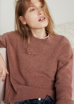 madewell connection sweater in sunset rose.