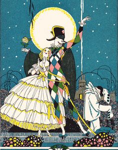 Illustration by John Austen Art Deco Illustration, Heart Illustration, Kunst Inspo, Art Inspo, Pierrot, Illustrations And Posters, All Art, Cute Art, Vintage Art