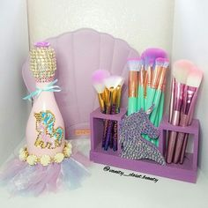 Setting up the glam room  how cute does our Limited edition Unicorn Brush Holder looks next to @champagnebisou??