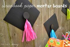 Headed For A Bright Future neon graduation party treat table scrapbook paper mortar board with tissue tassels Graduation Party Planning, College Graduation Parties, Graduation Celebration, Graduation Decorations, Graduation Party Decor, School Parties, Grad Parties, Graduation Gifts, Graduation Ideas