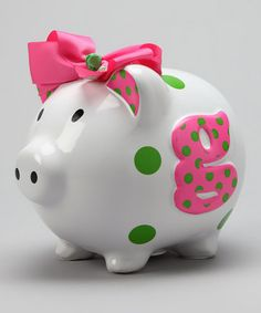 Take a look at this Pink 'G' Initial Piggy Bank by Mud Pie on today! Fifty Cent, Two Dollars, Cute Piggies, Mud Pie, Pink And Green, Color Combos, Favorite Color, Toddler Girl, State Quarters