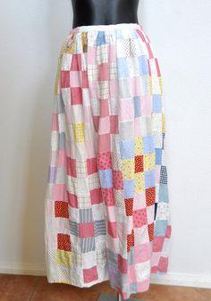 Cotton Hand Spun Patch Print Festival Maxi Skirt