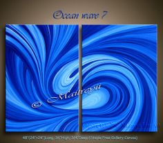 OIL PAINTING Blue Ocean Wave LARGE Modern Painting by largeartwork, $650.00