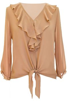 This lovely blouse top is made from lightweight chiffon-like material that is so comfortable to wear you will forget that you have it on. Loosely cut to provide a flattering fit for all. The neck line Tie Blouse, Long Blouse, Ruffle Blouse, Ruffle Collar, Sheer Blouse, Ruffle Sleeve, Blouse Styles, Blouse Designs, Blouse Verte