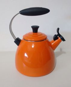 Kettle is used but in good condition, there is a few small marks on the base and outside of the kettle. Le Creuset, Kettle, Stove, Conditioner, Base, Orange, Kitchen, Tea Pot, Cooking
