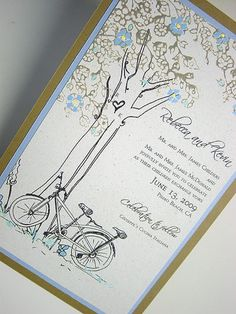 Tandem bike and tree invitations