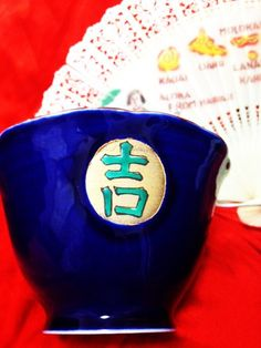 JAPANESE VINTAGE bowl with lucky Chinese characters by HotSAKIIII, ¥2700