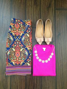 Fall Style: Paisley Pencil Skirt + Pink Sweater (Instagram @bma_21)