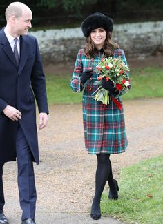 Pregnant Kate Middleton Embraces Christmas in a Plaid Miu Miu Coat | On Monday, Kate Middleton joined the royal family for Christmas Day church service, wearing a festive tartan coat.