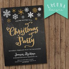 Christmas Party Invitation, Christmas Party Invite, Snowflake Invitation, Christmas Party Printable, Chalkboard Christmas Party