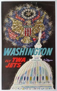Original vintage poster Fly TWA Jets Washington - David KLEIN
