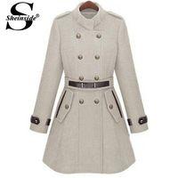 Sheinside Winter Luxury Women Overcoat Desigual Abrigos Mujer Brand 2014 Fashion Double Breasted Banded Collar Belt Woolen Coat
