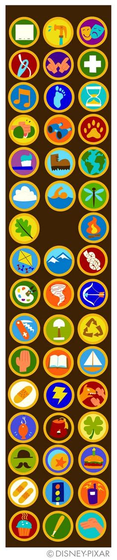 """Russell's merit badges from the Pixar movie """"Up"""", adapted for Disney Wilderness Explorers badging system, via Mozilla Open Badges."""