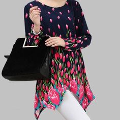 """HOST PICKFloral Asymmetrical Light Sweater Navy/Fuchsia Floral Asymmetrical Sweater Soft & Stretchy! Design goes all the way around to the back of the sweater, so you will look lovely coming AND going! Bust-40"""" Hips-44"""" Length (shortest)-29"""" Length (longest)-33"""" Tops"""