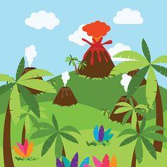 cute-cartoon-vector-background-of-jungle-or-dinosaur-era-landscape-vector-id578574912 (416×416)