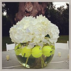 Tennis and my Girls? Tennis fits into every season! Centerpiece a for the tennis cocktail party. Boy my moms creative! Wimbledon Tennis, Tennis Tournaments, Tennis Clubs, Tennis Shop, Tennis Gear, Tennis Tips, Tennis Party, Sports Party, Tennis Table