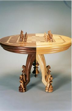 Chess set and matching chess table. Chess Board Table, Chess Boards, Woodworking Plans, Woodworking Projects, Chess Set Unique, Chess Pieces, Table Games, Table Furniture, Furniture Ideas