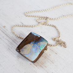 Australian Boulder Opal Necklace, Sterling Silver Pendant Necklace, Raw Opal Pendant, Silver Gemstone Necklace, Stone Statement Necklace by GLAMROCKSdesigns on Etsy