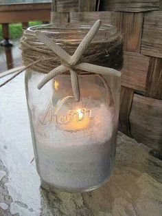 Such an easy DIY mason jar project! Put Epsom Salt in the bottom of the jar w/ a white candle on top {only use white candles}. Wrap twine around the top of the jar. Add any decoration to the twine th (How To Make Christmas Mason Jars) Beach Wedding Inspiration, Shower Inspiration, Beach Wedding Ideas On A Budget, Beach Ideas, Mason Jar Crafts, Mason Jars, Canning Jars, Kilner Jars, Diy Wedding Projects