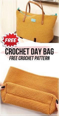 Crochet bags purses 487655465901187799 - Crochet Day Bag free pattern – easy crochet bag pattern for beginners Source by graultclaude Free Crochet Bag, Mode Crochet, Crochet Market Bag, Crochet Bags, Crocheted Purses, Crochet Pouch, Crochet Baskets, Crochet Designs, Crochet Patterns