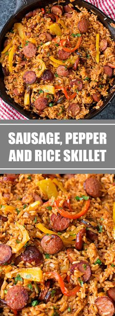 Smoky kielbasa sizzled with sweet bell pepper, onions and garlic in vibrant tomato sauce. This quick and easy sausage, pepper and rice skill. Kielbasa Recipes Rice, Kilbasa Sausage Recipes, Summer Sausage Recipes, Sausage Rice, Sausage Pasta Recipes, Kielbasa Sausage, Easy Chicken Recipes, Pork Recipes, Easy Dinner Recipes
