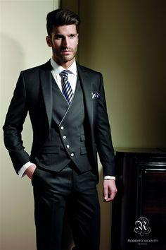 New Business Men Suits Groomsmen Tuxedos Groom Suit Tailored One Button Peak Lapel Mens Wedding Suits(Jacket+Vest+Tie+Pants) Tuxedo Wedding, Wedding Men, Wedding Suits, Wedding Attire, Formal Wedding, Dress Wedding, Wedding Groom, Wedding Tuxedos, Trendy Wedding