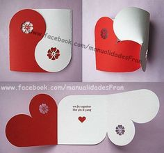 Valentine Collection (Yin Yang Card Gift Box Chipboard Balls Banner) SVG DXF PDF Machine Cuttable Files no items will be shipped Origami Love Cards, Diy Cards, Diy Origami Cards, Origami Box, Boyfriend Crafts, Boyfriend Card, Heart Cards, Valentine Day Cards, Valentine Heart