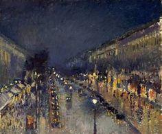 カミーユ・ピサロ The Boulevard Montmartre at Night