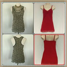 BKE BUNDLE This beautiful  BKE bundle is in the size medium. The black tan BKE top is a DAY TRIP RACERBACK. And the red BKE top is a camisole with lace. Sorry no trades BKE Tops