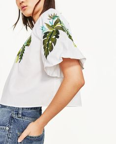 Image 6 of EMBROIDERED LEAVES BLOUSE from Zara
