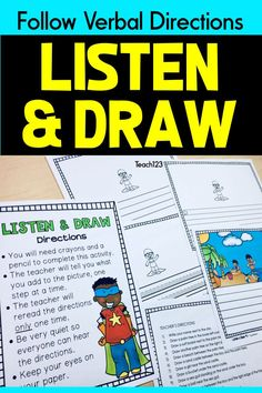 Listen and Draw Listening to Details Activities Summer Listen and Draw Listening to Details Activities Summer,A+ CREATIVE COLLABORATORS for Kids Listening activity for kindergarten, or grade. Kids love these listening activities! Listening Activities For Kids, Summer School Activities, Drawing Activities, Active Listening, Listening Skills, Speech Therapy Activities, Fun Activities, Listening And Following Directions, Following Directions Activities