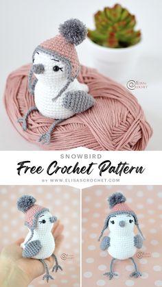 Crochet Bird Patterns, Crochet Birds, Crochet Amigurumi Free Patterns, Crochet Teddy, Crochet Dolls, Kawaii Crochet, Cute Crochet, Crochet Crafts, Crochet Projects