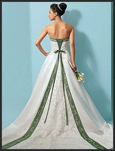 Alfred Angelo gown with green trim. LOVE IT