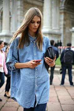 Caroline Brasch Nielsen doing chambray #offduty in Milan. (look at that face for heavens sake woulddya! ughhh... stunning).