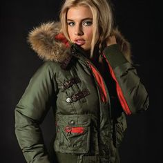 """""""Battle"""" Jacket. Nylon body with leather trim and a detachable fur hood.  Available in Dark Olive, Cream and Black. #fashion #style #clothes #clothing #fashionable #womensfashion #outerwear #coats #jackets #fashiongirls #sexy #beauty #leatherjacket #love #cute #beautiful #design #Vixen #VixenCollection"""