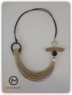 Driftwood necklace Linen necklace Driftwood Jewelry, Rope Jewelry, Ceramic Jewelry, Wooden Jewelry, Leather Jewelry, Jewelry Crafts, Jewelry Art, Beaded Jewelry, Jewelery