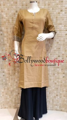 Designer Kurti 11 Fabric : Matte Cotton. Color : Beige. Style : Designer Long Kurti. Product Details :  Designer long kurti in Matte cotton ideal for everyday use as well as small get together. Designer long kurti in tail cut style. Price : Rs: 720 /-