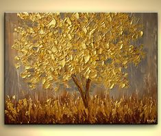 Golden Landscape Painting Gold Modern Palette by OsnatFineArt